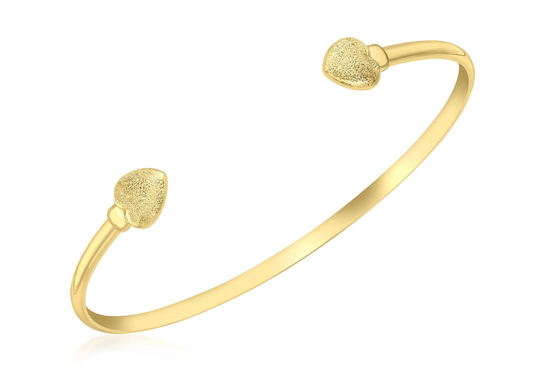 9ct Yellow Gold Stardust Hearts Torque Bangle