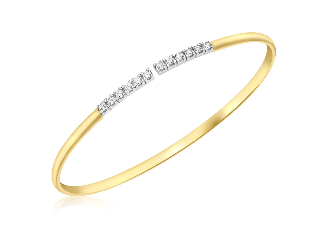 9ct Yellow Gold Cz Bar Torque Bangle