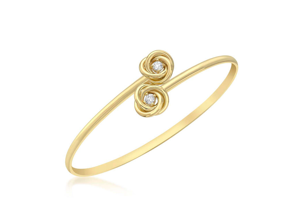 9ct Yellow Gold Cz Knot Flexible Bangle