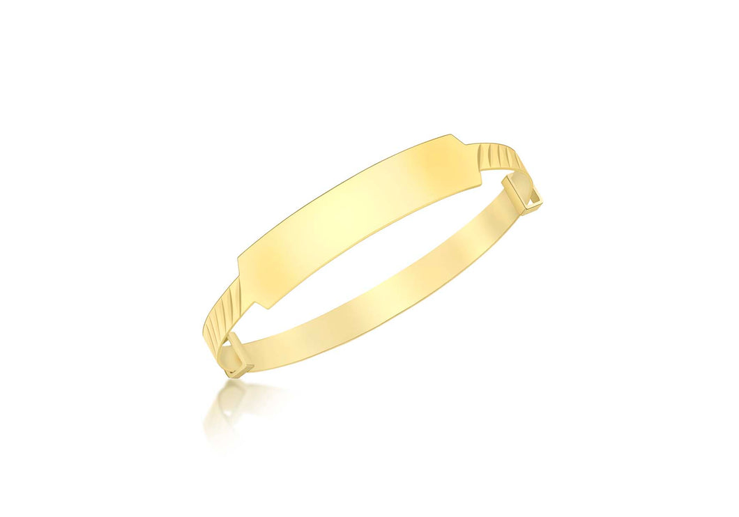 9ct Yellow Gold Id Diamond Cut Oblique Extendable Baby Bangle