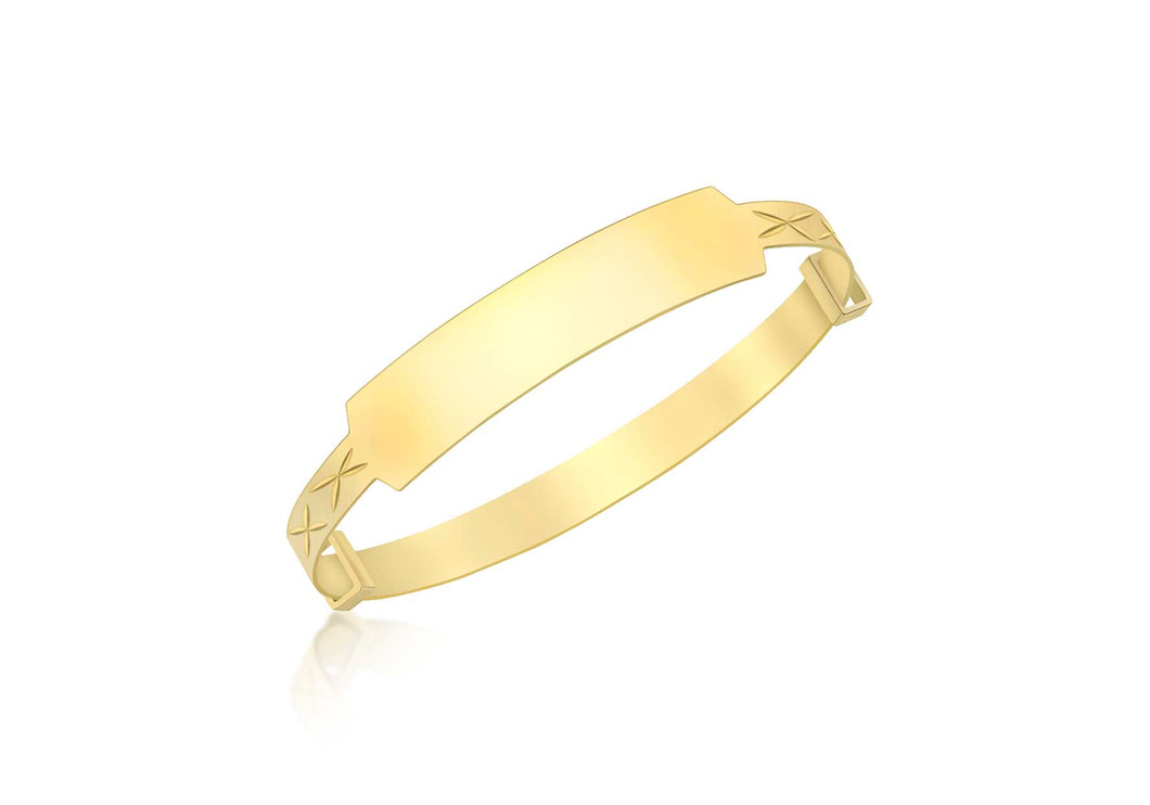 9ct Yellow Gold Id Diamond Cut Extendable Baby Bangle