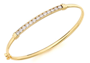 9ct Yellow Gold Cz Detail Oval Bangle