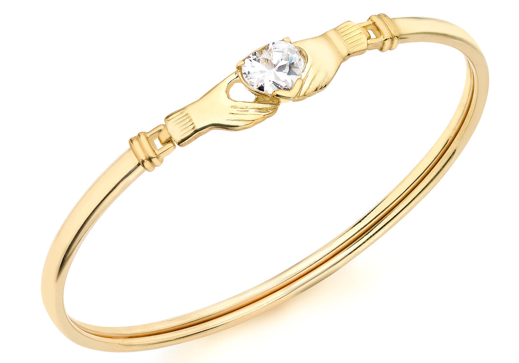 9ct Yellow Gold Claddagh And Heart Cz Detail Bangle
