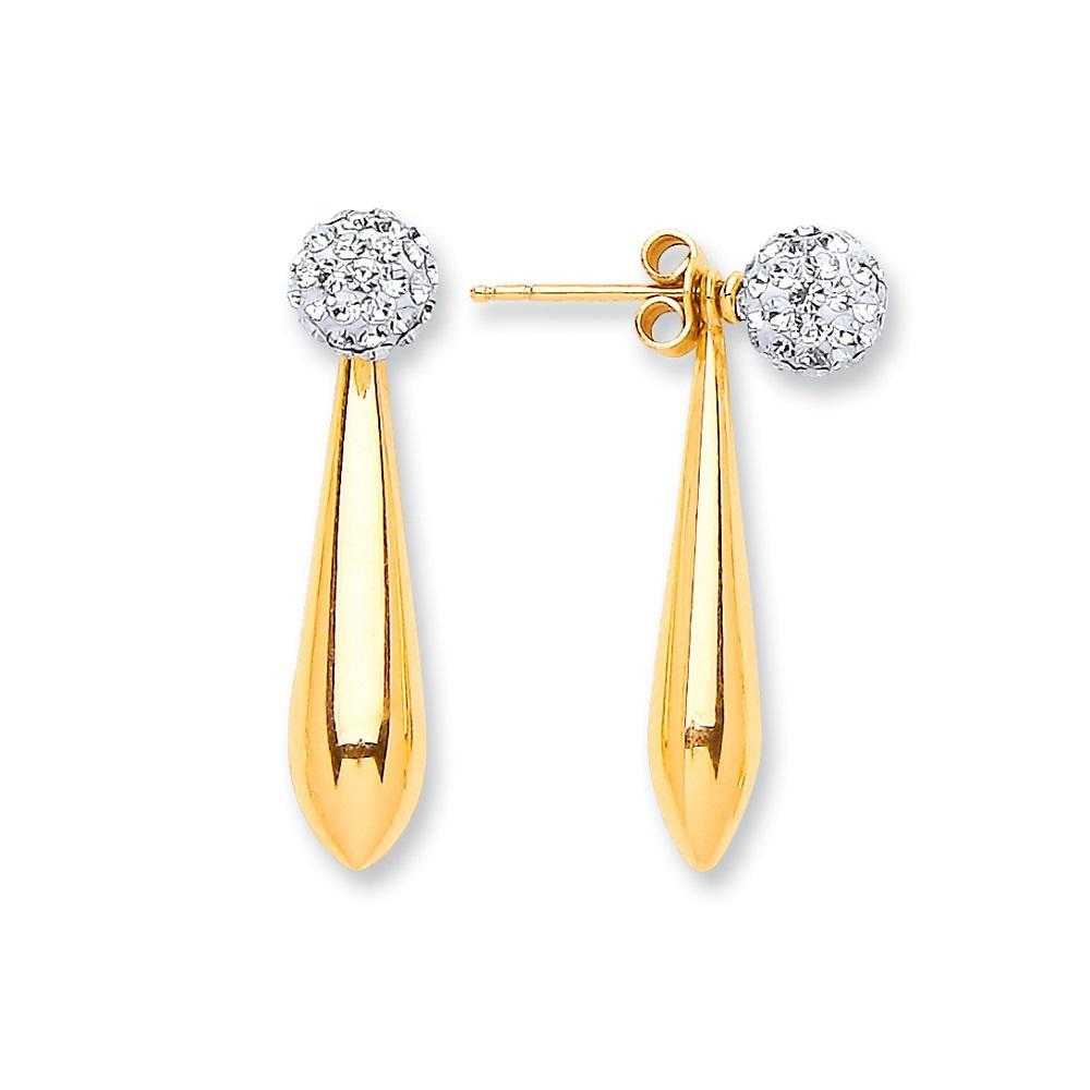 9ct Yellow Gold Bomber Shape Drop & Cz Ball Stud Earrings - Queen of Silver