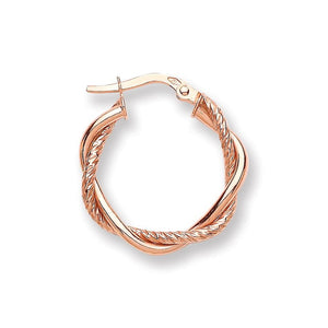 9ct Rose Gold Twist Hoop - Queen of Silver