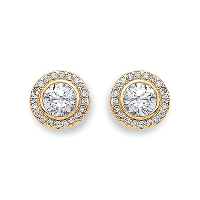 9ct Yellow Gold Halo Stud - Queen of Silver