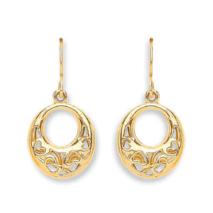 9ct Yellow Gold Hook Drop Heart Earrings - Queen of Silver
