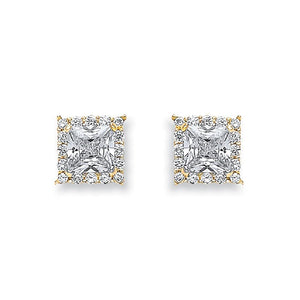 9ct Yellow Gold Princess Cut Cz Centre Stud - Queen of Silver