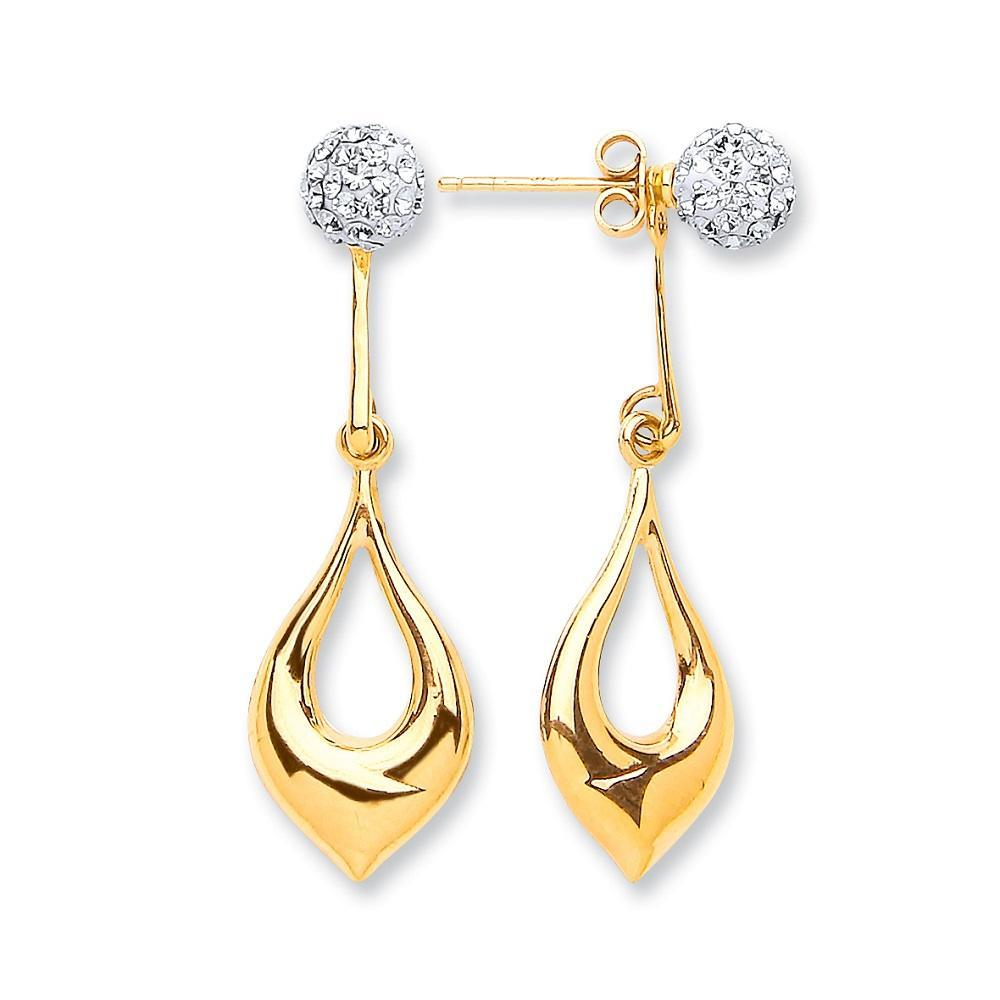 9ct Yellow Gold Pear Shape Drop & Cz Ball Stud Earrings - Queen of Silver