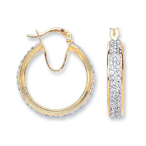 9ct Yellow Gold Round Two Row Crystal Hoop - Queen of Silver