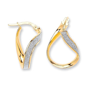 9ct Yellow Gold Wavy Moodust Earrings - Queen of Silver