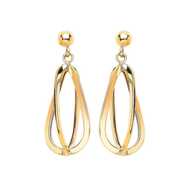 9ct Yellow Gold Cage Drop Earrings - Queen of Silver