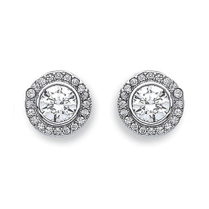 9ct White Gold Halo CZ Stud - Queen of Silver