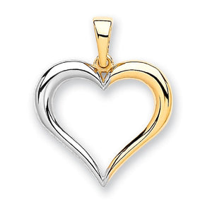 9ct Yellow & White Gold Heart Pendant - Queen of Silver