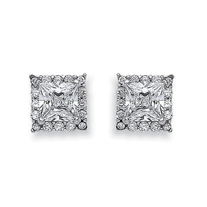 9ct White Gold Princess Cut Cz Centre Stud - Queen of Silver