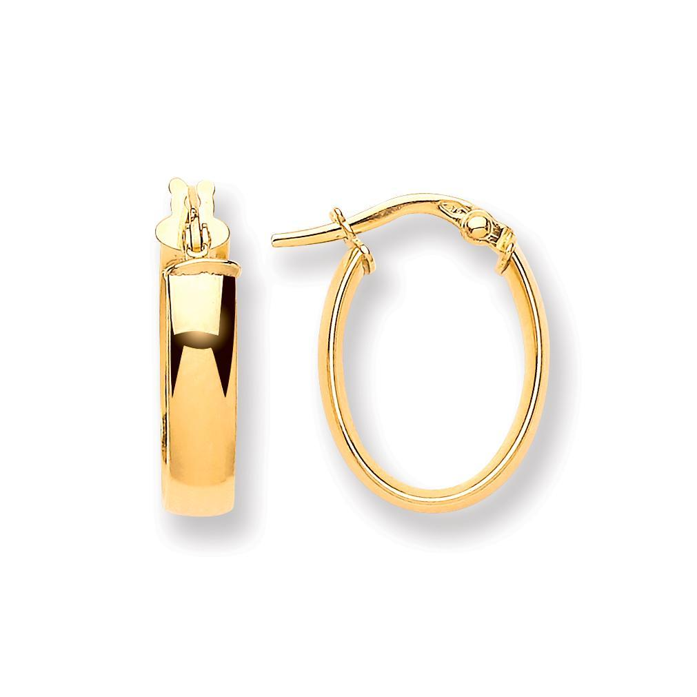 9ct Yellow Gold Oval D Shape Hoop - Queen of Silver