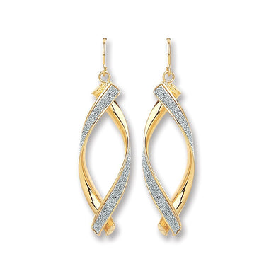 9ct Yellow Gold Moondust Oval Twist Drop Earrings - Queen of Silver