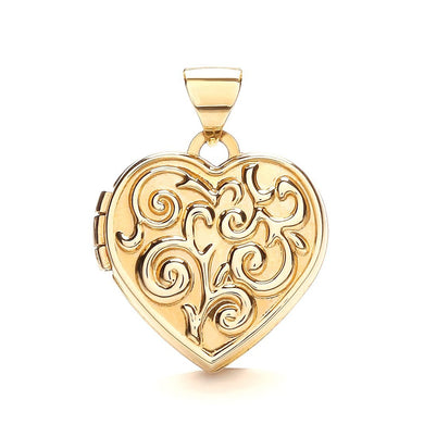 9ct Yellow Gold Heart Shape Locket With Design Pendant - Queen of Silver