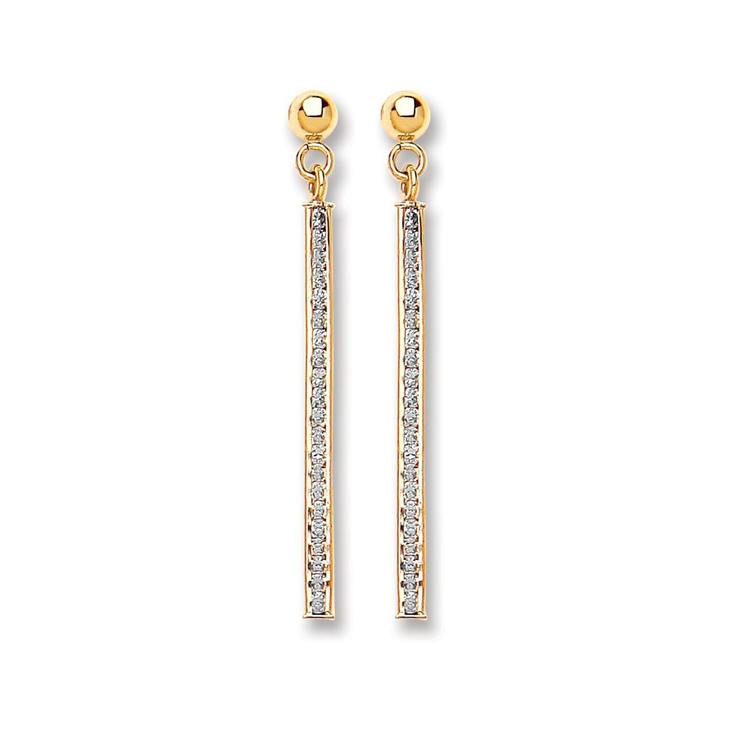 9ct Yellow Gold Cz Drop Earrings - Queen of Silver
