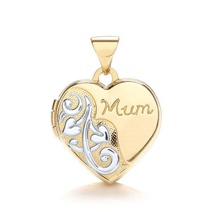 9ct White Yellow Heart Shape Mum Locket Pendant - Queen of Silver