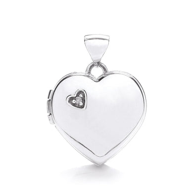 9ct White Gold Heart Shape Locket With Diamond Pendant - Queen of Silver