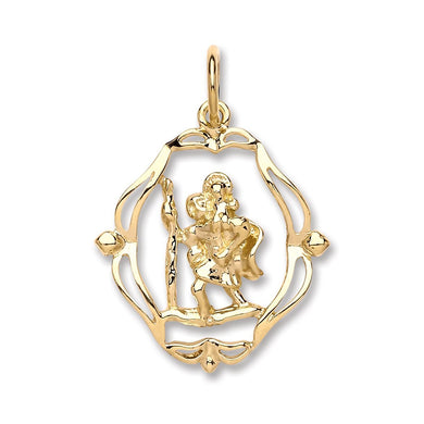 9ct Yellow Gold Oval Fancy Cut Out St Christopher Pendant - Queen of Silver