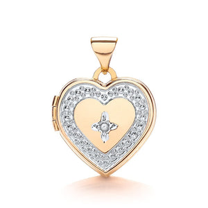 9ct White Yellow Heart Shape Locket With Diamond Pendant - Queen of Silver