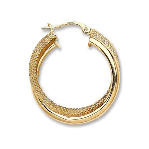 9ct Yellow Gold Plain & Frosted Double Hoop Earrings - Queen of Silver