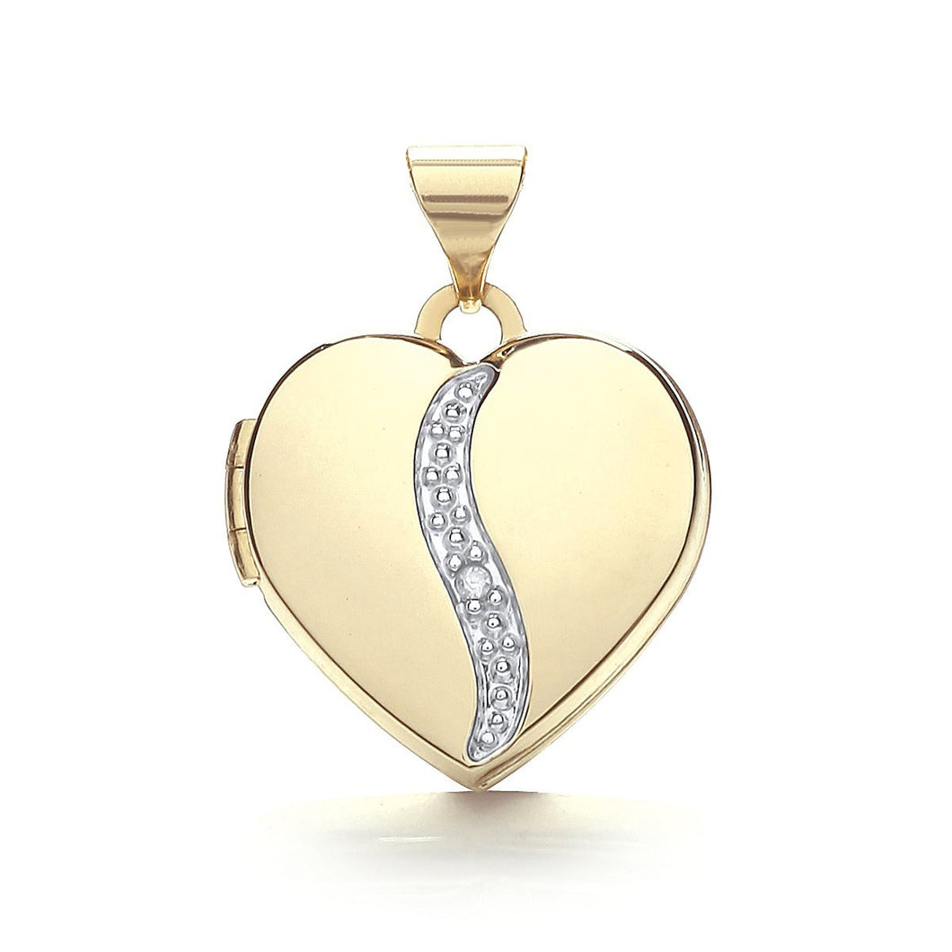9ct Yellow Gold Heart Shape Locket With Diamond Pendant - Queen of Silver