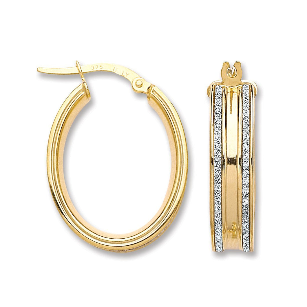 9ct Yellow Gold Moondust Edge Hoop Earrings - Queen of Silver