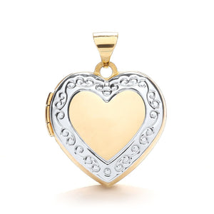9ct White Yellow Heart Shape Locket With Edge Design Pendant - Queen of Silver