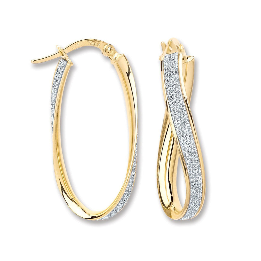 9ct Yellow Gold Moondust Oval Twist Hoop Earrings - Queen of Silver
