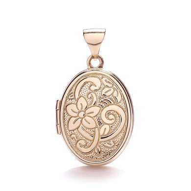 9ct Rose Gold Oval Shaped Locket Pendant - Queen of Silver