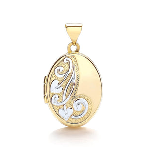 9ct  Yellow White Oval Shaped Locket Pendant - Queen of Silver