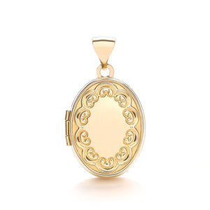 c41416ce5 9ct Yellow Gold Engraved Oval Shaped Locket Pendant – Queen of Silver