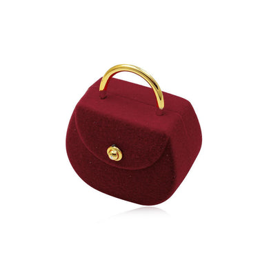 Novelty Dark Red Handbag Shaped Hinged Ring Jewellery Box - Queen of Silver