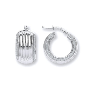 9ct White Gold Wide Ribbed Moondust Edge Hoop Earrings - Queen of Silver