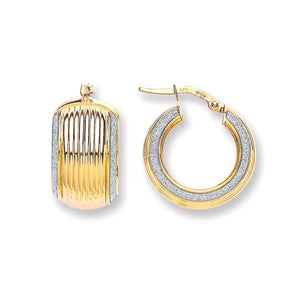 9ct Yellow Gold Wide Ribbed Moondust Edge Earring - Queen of Silver