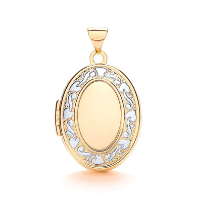 9ct  Yellow White Oval Shaped Family Locket Pendant - Queen of Silver