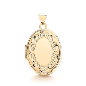 9ct Yellow Gold Oval Shaped Locket Pendant - Queen of Silver