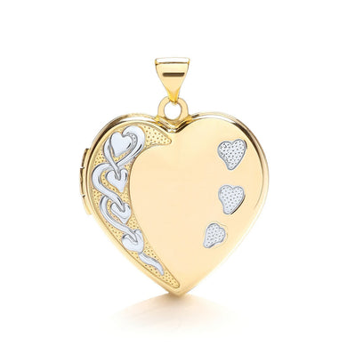 9ct  Yellow White Heart Shaped Family Locket Pendant - Queen of Silver
