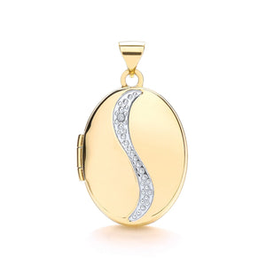 9ct Yellow Gold Oval Shaped Locket With Diamond Pendant - Queen of Silver