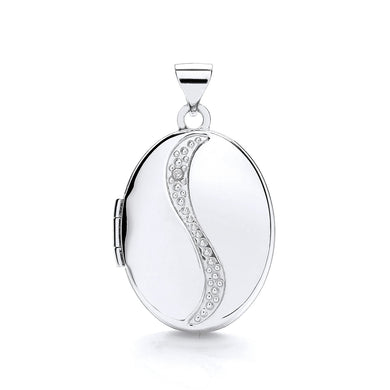 9ct White Gold Oval Shaped Locket Pendant - Queen of Silver