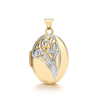 9ct White Yellow Oval Shaped Locket Pendant - Queen of Silver