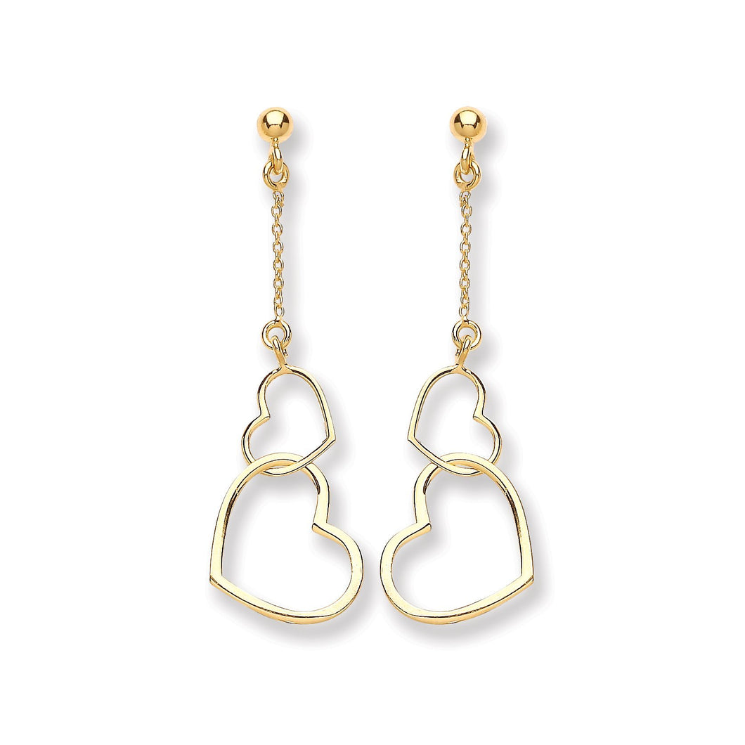 9ct Yellow Gold Heart Drop Earrings - Queen of Silver