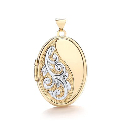 9ct White Yellow Oval Locket With Half Design Pendant - Queen of Silver