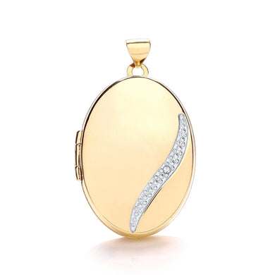 9ct  Yellow Gold Oval Locket with Diamond Pendant - Queen of Silver