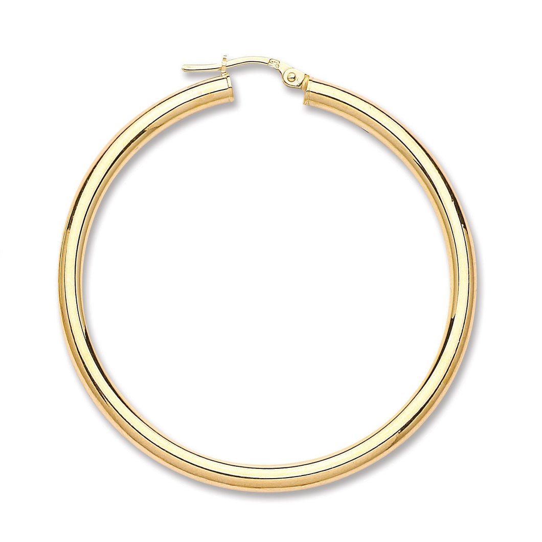 9ct Yellow Gold Plain Tube Hoop Earrings - Queen of Silver