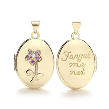 9ct Yellow Gold Oval Double Sided Locket With Purple Cz Pendant - Queen of Silver