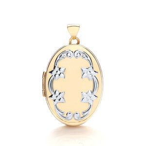 9ct White Yellow Oval Locket With Design Pendant - Queen of Silver